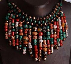 Malachite necklace collar Sale jewelry Boho necklace Bib