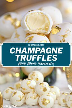 This Champagne White Chocolate Truffle recipe will make you want to bust out the bubbly! Luscious white chocolate is combined with champagne to produce silky-smooth truffles that melt in your mouth. These beautiful homemade truffles are perfect for New Year's Eve, Valentine's Day, or any celebration! #sugarhero #champagnetruffles #whitechocolatetruffles #trufflerecipe Edible Gold Leaf, Homemade Truffles, Champagne Truffles, Valentines Day Desserts, Truffle Recipe, Breakfast Recipes, Celebration, Smooth, Candy