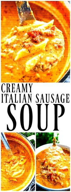 Creamy Italian Sausage Soup Creamy Italian Sausage Soup Cheesy Pasta Filled Soup Made With Italian Sausage Is The Perfect Pairing For An Easy Weeknight Dinner Or Holiday Party Crock Pot Recipes, Healthy Soup Recipes, Slow Cooker Recipes, Easy Recipes, Chicken Recipes, Dinner Recipes, Vegetarian Recipes, Chicken Soups, Vegetarian Soup