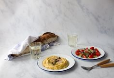 Fava, yellow split peas puree from Santorini - Eat Yourself Greek Split Peas, Garlic Cloves Minced, Fava Beans, Sweet Wine, Lemon Wedge, Few Ingredients, Cherry Tomatoes, Santorini, Food Print