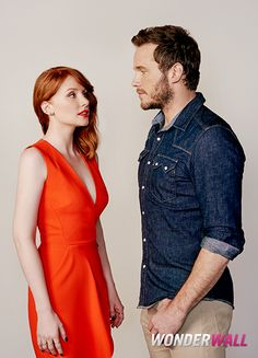 "Bryce Dallas Howard and Chris Pratt share a moment during the ""Jurassic World"" junket in Los Angeles."