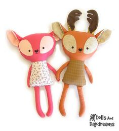 * Dolls And Daydreams - Doll And Softie PDF Sewing Patterns: How to Customize Handmade Dolls and Softies Softies, Fabric Toys, Felt Fabric, Fabric Scraps, Sewing Toys, Sewing Crafts, Diy Pour Enfants, Craft Projects, Sewing Projects