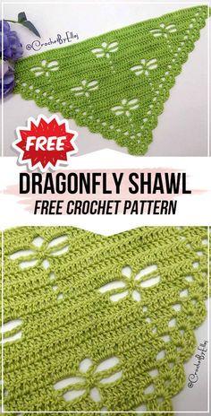 crochet Dragonfly Shawl free pattern - easy crochet shawlwrap pattern for beginners Crochet Shawl Free, Crochet Shawls And Wraps, Basic Crochet Stitches, Crochet Scarves, Crochet Patterns, Crochet Dragonfly Pattern, Crochet Triangle, Drops Design, Crochet Crafts