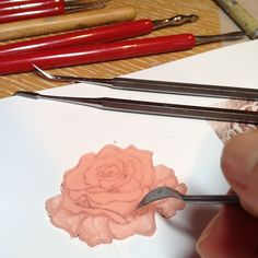 Wax carving. rose...♡