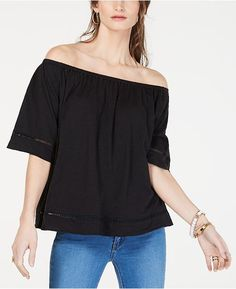 09628158fd2f12 Michael Kors Off-The Shoulder Cotton Top - Tops - Women - Macy s Crochet  Trim
