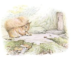 The squirrels searched for nuts all over the island and filled their little sacks. But Nutkin gathered oak-apples—yellow and scarlet—and sat upon a beech-stump playing marbles, and watching the door of old Mr. Brown