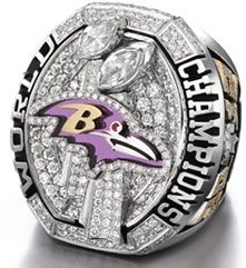 NFL Baltimore Ravens World Champions Gold Ring