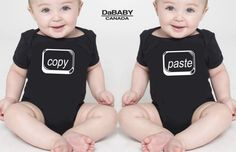 Twins Funny Baby Onesies, Twins Baby Shower Gift, Unique Baby Gift for Twins, Copy and Paste Twins Onesies, Gender Neutral Baby Bodysuits.  https://www.facebook.com/dababyclothing?fref=ts