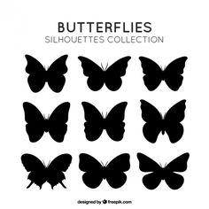 蝶のシルエットパック 無料ベクター