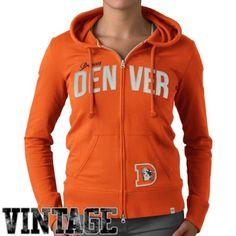 '47 Brand Denver Broncos Womens Pep Rally Full Zip Vintage Hoodie - Orange