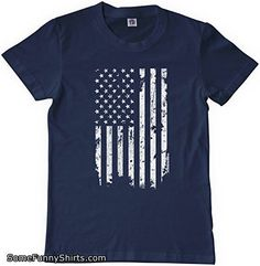Threadrock Big Boys' Distressed White American Flag Youth T-shirt S Navy