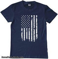 Threadrock Big Boys' Distressed White American Flag Youth T-shirt S Navy