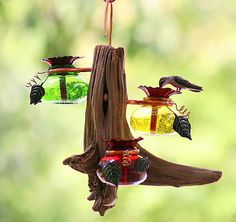 DRIFTER - Glass & Wood -Hanging Hummingbird Feeder -3 Flower Feeding Ports Perry | eBay