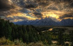 The Grand Tetons at sunset from the Snake River Overlook.