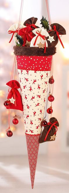Advent Calendar packages in a large decorative cone Christmas Sewing, Noel Christmas, Christmas Countdown, All Things Christmas, Christmas Stockings, Christmas Ornaments, Modern Christmas, Scandinavian Christmas, Xmas Crafts