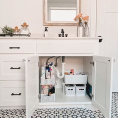 Finally tackled the mess that was under my bathroom sink (Slide for the before) So satisfying to see it clean and. Bathroom Sink Organization, Sink Organizer, Bathroom Storage, Bathroom Sink Decor, Cute Bathroom Ideas, Organized Bathroom, Bathroom Sink Cabinets, Shiplap Bathroom, Concrete Bathroom