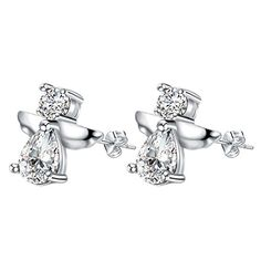 OUBEY Shiny Angel Cute Silver Earrings For Women Silver Earrings *** You can find out more details at the link of the image. Note:It is Affiliate Link to Amazon.