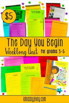 Need some The Day You Begin book activities? The activities included in this resource are perfect for teaching figurative language, mood, modifiers, or celebrating differences. Click the pin to see all the lessons included!
