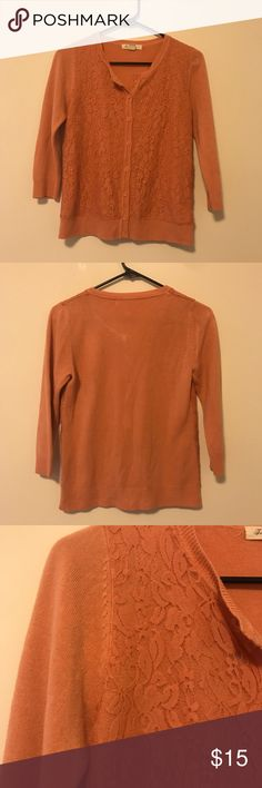 🆕🆕 Forever 21 Peach Lace Cardigan Sweater Color is a bit off in the pictures. It's a cute peachy color. Looks great as a sweater by itself or over a dress or shirt as a cardigan! Great condition. Offers welcome🌟 Forever 21 Sweaters Cardigans