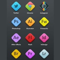 12 Rhombus Adobe Program Icons Set PSD - http://www.dawnbrushes.com/12-rhombus-adobe-program-icons-set-psd/
