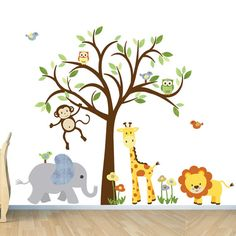 Safari Wall Decal, Nursery Wall Decal, Jungle Animal wall decal, monkey decal, Evergreen Citrus Design on Etsy, $147.85 AUD