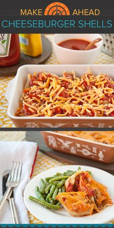 Jumbo pasta shells are stuffed with a savory mixture of ground beef, cheese and a just-sweet-enough tomato sauce, then refrigerated until you're ready to bake and serve. The dish can also be baked and then frozen for meals up to a month from now.