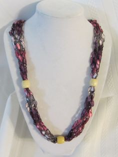 Trellis Ladder Ribbon Yarn Pink/Cream Necklace by stampingcardgirl, $8.00