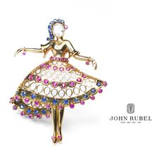 This ballerina brooch is an example of the iconic dancer brooches designed by John Rubel. #JohnRubel #highjewelry #jewelry #luxury #gems #gold #diamonds #hautejoaillerie #highsociety #finejewellery #Paris
