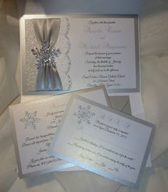 WINTER Wedding Invitation Silver Glitter by TheRainbowColors