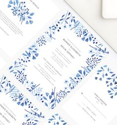 True blue watercolor floral wedding invitation suite by Archer & Olive #bluewedding #stationery #watercolor