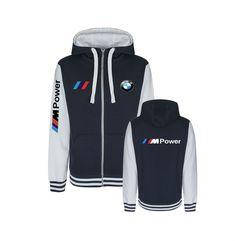 Hooded Baseball Jacket with BMW Mpower design, full zipper Baseball Jackets, Hooded Sweatshirts, Adidas Jacket, Hoods, Bmw, Zipper, Unisex, Design, Fashion