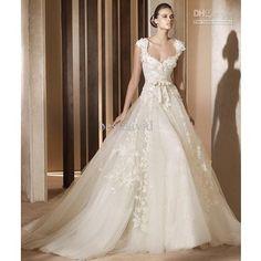 Wholesale Ivory Scoop Cap Sleeve Tulle Lace Vintage Wedding Dress 2012 Princess Sweetheart Aglaya Chapel Train