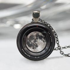 Moon in a Camera lens Necklace, Photographer Jewelry Camera , Camera Charm,  Camera Lens Pendant,Art Pendant,Moon Pendant,Moon Charm