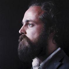 Joe Simpson - Portrait of Sam Beam (Iron and Wine). Part of Simpson's recent series of musician portraits.