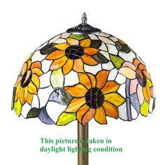 "Tiffany Style 16"" x 58"" Two Light Sunflower Floor Lamp 854-16F"