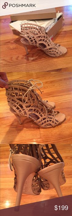 Joie Leah gladiator nude 38.5 Joie Leah lace up gladiator sandals heels 38.5. Too big for me but I had to have so I had pads inside but still didn't fit. Will fit a 8.5 even 9. Rare color. A nude beige color.  There is a gold piece missing on the end of each lace as you can see but when tied you don't see it. In excellent condition Joie Shoes