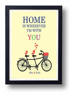 Anniversary Gift for Husband- Bike artHome is Wherever I'm with You-Gift for Parents-Yellow art on Etsy, $17.00