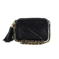 Vintage Chanel Black Lambskin Small Classic Quilted Camera Bag - Chanel - Brands | Portero Luxury