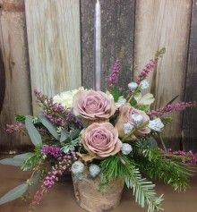 A birch container overflowing with evergreens including silver fir. Christmas Arrangements, Floral Arrangements, Silver Fir, Winter Wedding Centerpieces, Fresh Flower Delivery, Houseplant, Floral Designs, Fresh Flowers, Wedding Bouquets