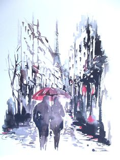 "Love rain romance ""Rainy Day in Paris"" Original Watercolor Painting, contemporary modern wall art illustration abstract home wall decor"