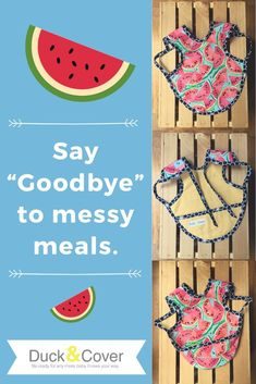 Keep baby clean at BBQs this summer with this full coverage bapron - an apron style bib. Arm holes and a tie keep it in place and a pouch style pocket catches crumbs. Find this watermelon print and many more in the Duck & Cover Etsy shop. Baby Shower Watermelon, Watermelon Birthday, Best Baby Shower Gifts, Baby Gifts, Stocking Stuffers For Baby, Baby Stocking, Toddler Bibs, First Birthday Gifts, Kids Apron