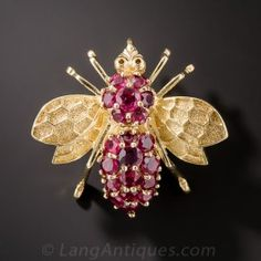 Mid-Century Ruby Bumble Bee Brooch / Pendant - Antique & Vintage Pins and Brooches - Vintage Jewelry