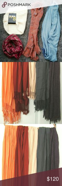 LOT OF 10! MIXED LOT OF WOMEN'S SCARVES. 10 piece lot of women's scarves. Great wardrobe staples.  A little bit if everything.  All in excellent condition.  Many new.  2 infinity scarves.  2 designed. 5 solid long with fringe.  And a funky grey stretchy elastic scarf. Accessories Scarves & Wraps