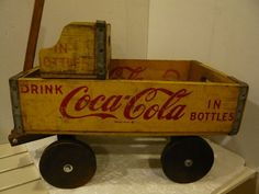 Vintage Coca Cola Crate Pull Wagon Toy Great | eBay
