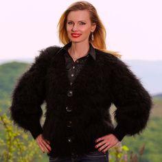 BLACK Hand Knitted Mohair Sweater Cardigan Fuzzy V neck Jacket SUPERTANYA S M L #SUPERTANYA #BasicCoat
