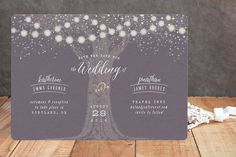 """""""Garden Lights"""" - Rustic, Whimsical & Funny Foil-pressed Save The Date Cards in Plum by Hooray Creative."""