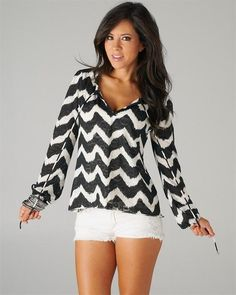 Black and White Chevron Style Tie Blouse Really like this top!