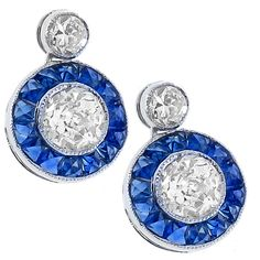 Antique Style 1.88ct Old Mine Cut Diamond 1.21 French Calibre Cut Sapphire 18K White Gold Earrings - See more at: http://www.newyorkestatejewelry.com/earrings/art-deco-style-1.88ct-diamond-1.21ct--sapphire-gold--earrings/22663/5/item#sthash.DJyfBLL7.dpuf