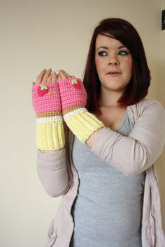 Cupcake Fingerless Mittens PINK frosting by BeeLiciousCrafts, $30.00