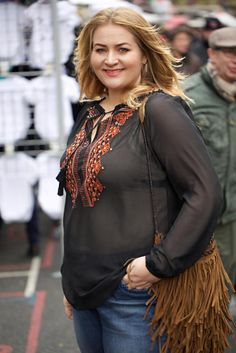 36fff4f7309 Anna Scholz in Anna Scholz for Sheego boho hippie embroidered top. plus size.  Available